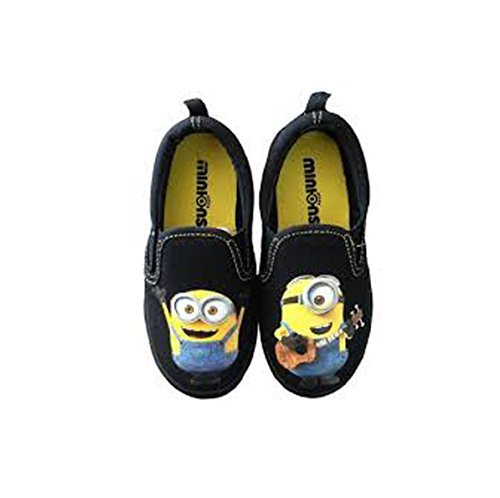 Despicable Me Minions Boys' Canvas Sneaker Slip on Shoe Black Yellow (8M US Toddler) (Despicable Me Shoes)