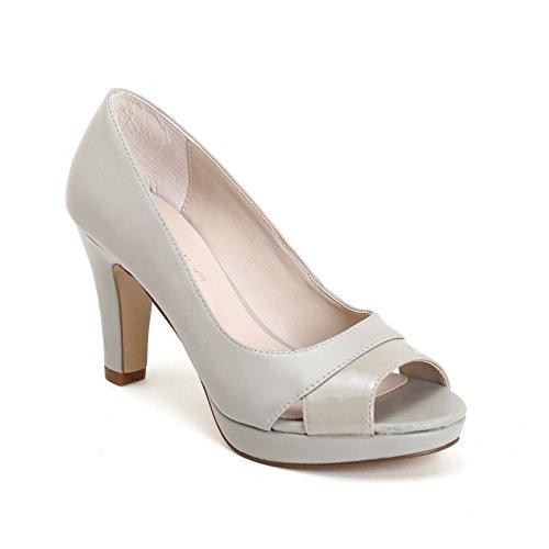 Con Vernice amp;scarpe Estradà Tacco In Scarpe Col Perla By Dettaglio Grigio Scarpe ZzzAY4