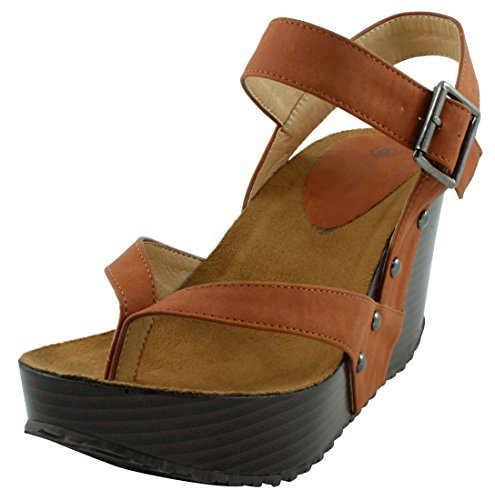 Cambridge Select Women's Studded Ankle Strappy Buckle Thong Platform Wedge Sandal (10 B(M) US, Brown)