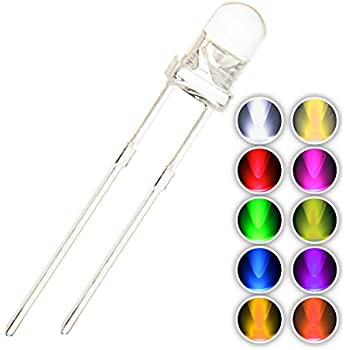 Chanzon 100pcs (10 colors x 10pcs) 3mm Light Emitting Diode LED Lamp Assorted Kit Warm White Red Yellow Green Blue Orange UV Pink