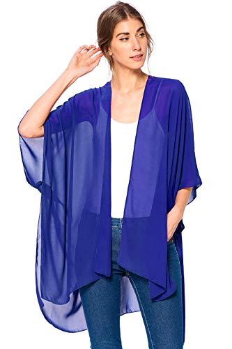 (Modern Kiwi Solid Sheer Chiffon Kimono Cardigan Royal Blue One Size)
