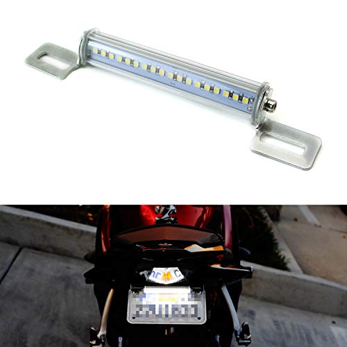 iJDMTOY Xenon White LED License Plate Frame Light Universal Fit For Motorcycles Suzuki Harley Honda Kawasaki Yamaha etc, Angle Adjustable License Lamp Powered by (18) High Power SMD LED Emitters ()