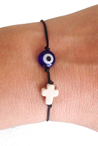 Eye Stone Cross (Double Good Luck Bracelet - Dark Blue Glass Evil Eye of Protection & White Stone Cross for Men, for)