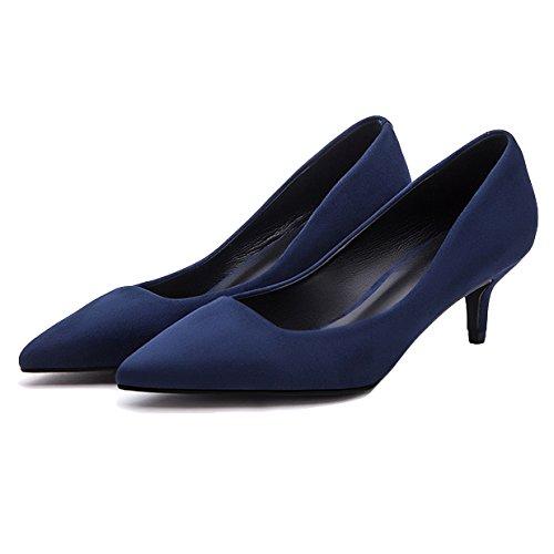RENHONG Mesdames Noir Bleu Stiletto Talons Pointus Toe Work Office Soirée Formelle Robe De Mariée Pour Les Femmes Chaussures Blue w88fnwbNi