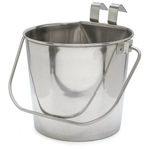 Omni Pet Flat Sided Hanging Feeding Water Pail 32 oz Stainless Steel Hook On - Closeout