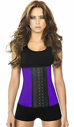 Ann Cherry Women's Classic 3 Hooks Latex Waist Cincher Shapewear, Purple, Large/36