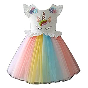Hopscotch Girls Poly Cotton Unicorn Print Round Neck Party Dress in Multi Color