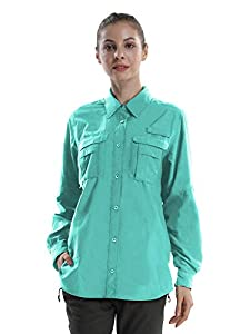 Women's Quick Dry Sun UV Protection Convertible Long Sleeve Shirts for Hiking Camping Fishing Sailing