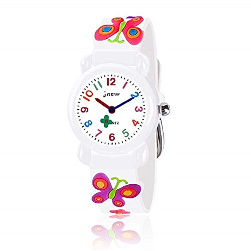 (B-hero Kids Watches, Kids Waterproof Watch 3D Lovely Cartoon Silicone Watch for Girl and Boy with Gift Case-The for Kids (White-Butterfly))