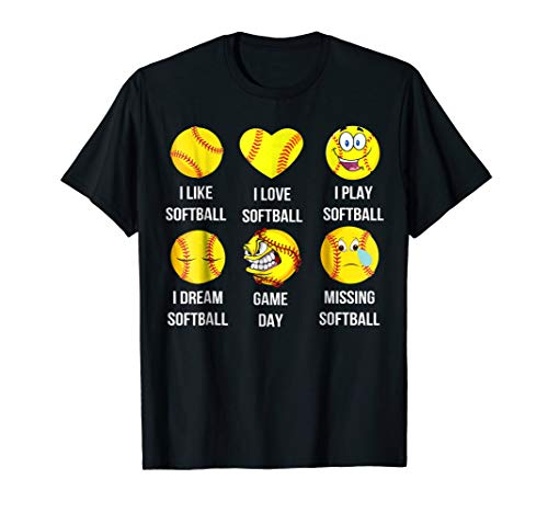 Softball Emoji Shirt I Like Softball Shirts Emoticon Social]()