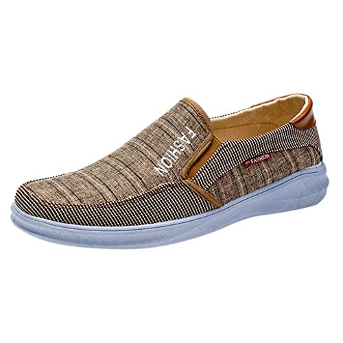 Sunhusing Casual Men's Canvas Running Sports Shoes One Pedal Breathable Shoes Lazy Shoes Slip-On Sneakers Brown ()