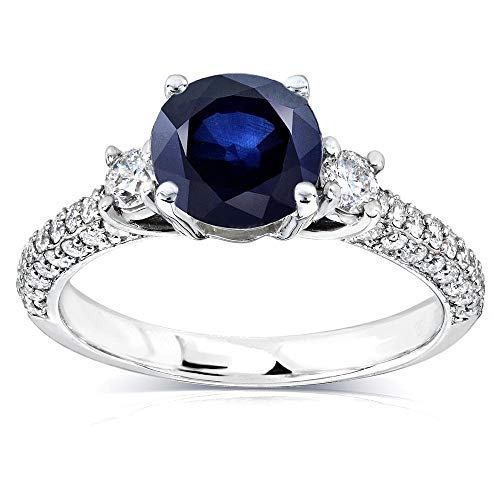 (Three-Stone Sapphire and Diamond Engagement Ring 1 1/2 CTW in 14k White Gold, Size 7)
