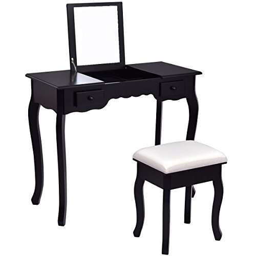 Giantex Vanity Set Dressing Table with Flip Top Mirror Cushioned Bench Bedroom Furniture Table Desk Set (Black)