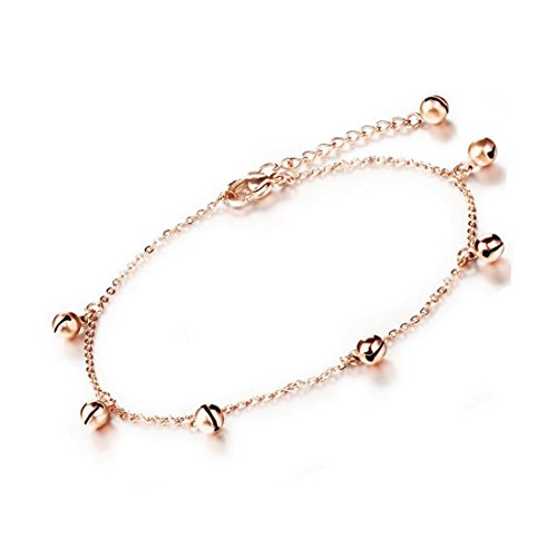 Mmiiss Rose Gold Ancient Beaded Charm Ankle Bracelet Adjustable Bells Charms Anklet Foot Jewelry for Women (Bells -
