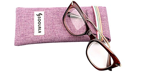 SOOLALA Womens Designer Cat Eye Metal Arms Reading Glasses Customized Strengths, DarkTea, - Large Cat Reading Eye Glasses