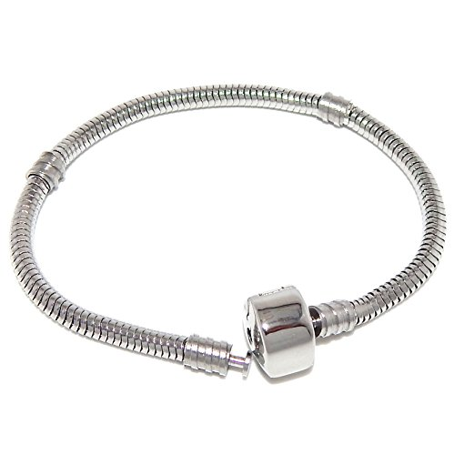 Stainless Steel Starter Charm Bracelet for KidsEuropean Style Clasp (Barrel Snap Clasp 7 inch) -