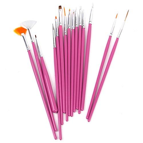 15 x Nagel Kunst Malerei Pen / Pinsel Set - Pink