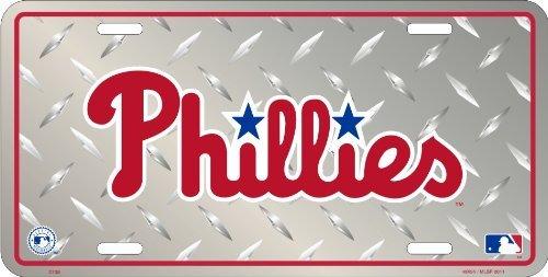 Philadalephia Phillies Metal Auto Tag Diamond Emboss