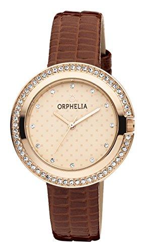 ORPHELIA Glitz Brown Leather Strap-OR11719