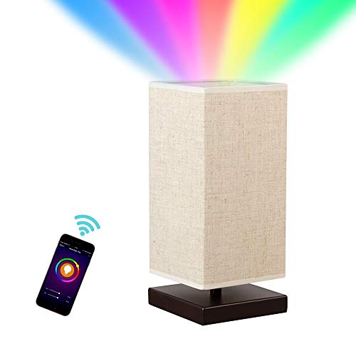 MLGB Alexa WiFi Smart Wood Table Lamp, Dimmable Multicolored Color Changing LED Light, with Fabric Shade and Solid Wood, Smartphone Control Compatible with Alexa … ()