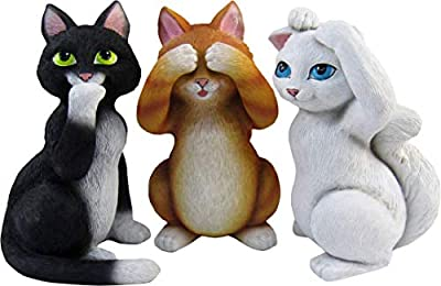 World of Wonders - Meow & Forever Series - Good Kitties - Collectible Set of Three (3) See Hear and Speak No Evil Mini Kitty Cat Figurines, 4-inch