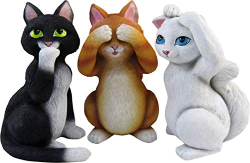 World of Wonders - Meow & Forever Series - Good Kitties - Collectible Set of Three (3) See Hear and Speak No Evil Mini Kitty