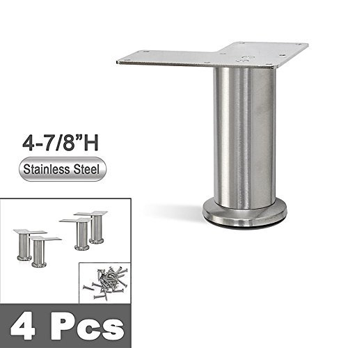 - Stainless Steel Straight Metal Sofa Legs, Furniture Legs, Round Tube - Set of 4 New (4-7/8