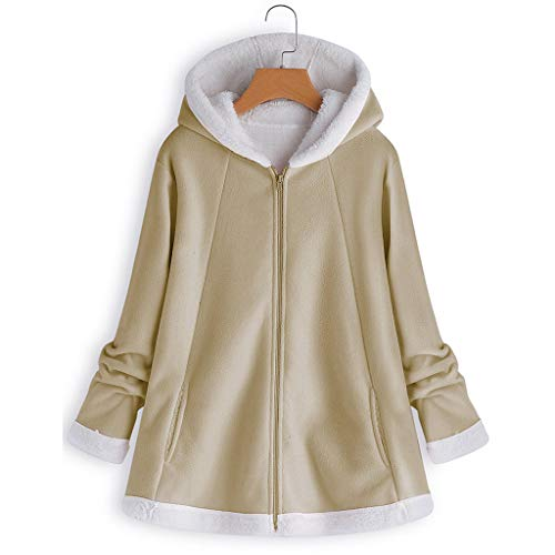 (ANJUNIE Warm Winter Jacket Women's Curved Hem Longline Faux Fur Sherpa Fleece Hoodie Coat(Khaki,2XL) )