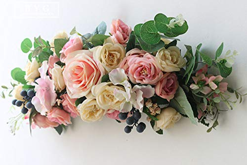 Woooow Rose and Hydrangea Swag,15 Inch Decorative Swag with Pink Roses, Green Leaves for Wedding Arch Front Door Wall Decor