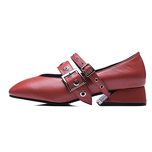 Nine Seven Cuero Moda Puntera Cuadrada Zapatos de Tacón Bajo con Hebilla para Mujer Rojo