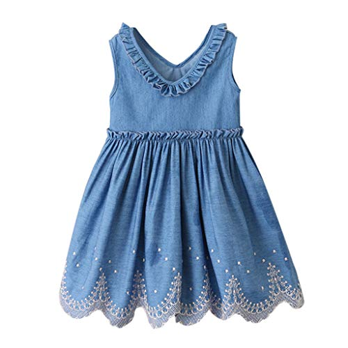 - iDWZA Toddler Kids Baby Girls Clothes Embroidery Denim Party Pageant Princess Dress(Blue,Age:2-3 Years)