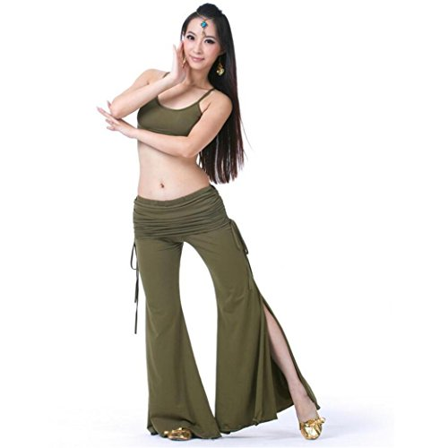 Women Belly Dance outfit Cotton bilateral belt tribal pants Professional Performance Match Practice clothes Set , army green , f -