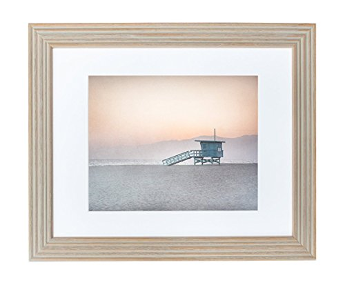 Framed Art Print - Coastal Beach Wall Decor 11x14 Rustic Wood Picture Frame Displaying an 8x10 Photographic Print, 'Lifeguard Station'