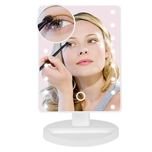 Wide Illuminated Mirror (10X Magnifying Lighted Makeup Mirror - Daylight LED Travel Vanity Mirror - Dimmable Touch Sensor,Brightness Memory,Cordless, 6.6