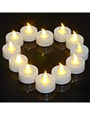12pcs LED Tea Lights with Timer, PChero Flickering Flameless Battery Operated Mini Tealights Candles for Wedding Party Holiday Home Church Decorations