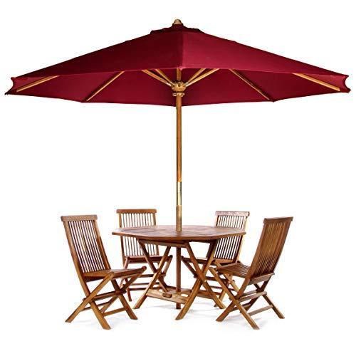 (All Things Cedar TT6P-O-R Teak Octagon Patio Table & Folding Chair Set with Red Teak Market Table Umbrella, 6-Piece)