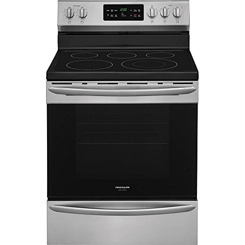 Frigidaire FGEF3036TF Gallery Series 30 Inch Freestanding Electric Range with 5 Elements, Smoothtop Cooktop, 5.4 cu. ft. Primary Oven Capacity, , in Smudge Proof Stainless (Frigidaire Smoothtop Range)