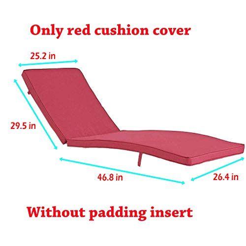 (Do4U Adjustable Patio Outdoor Furniture Rattan Wicker Chaise Lounge Chair Sofa Couch Bed with Cushion (1 Pcs Red Cushion Cover))