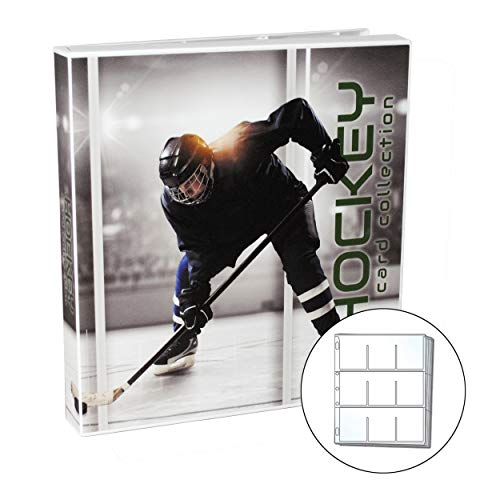 UniKeep Hockey Themed Trading Card Collection Binder with 10 Platinum Series Trading Card Pages. Fully Enclosed Case with a Locking Latch to Keep Cards Secure