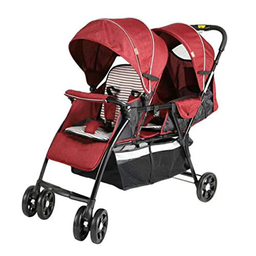 Cloud Lightweight Double Stroller, Side by Side Tandem Umbrella Stroller, Easy Folding Pram, 360° Turning Tandem Double Toddler, Suitable for 2 Kids (Color : Red)