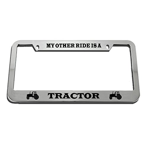 Speedy Pros My Other Ride is A Tractor Zinc Metal License Plate Frame Car Auto Tag Holder - Chrome 2 Holes (Mother My A Is Tractor)