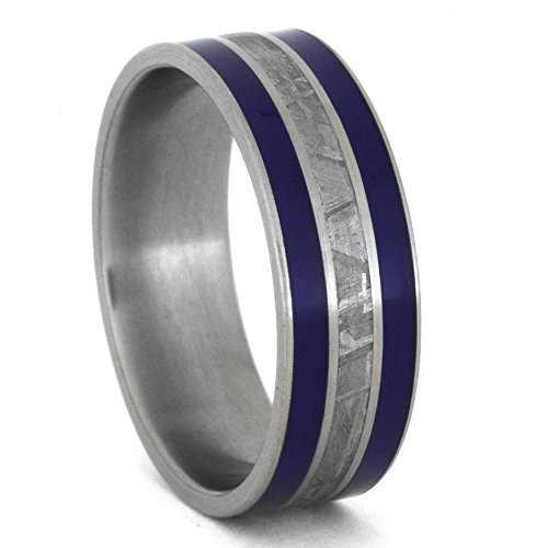 Meteorite, Blue Enamel Inlay 8mm Comfort-Fit Brushed Titanium Band, Size 14.5 by The Men's Jewelry Store (Unisex Jewelry)