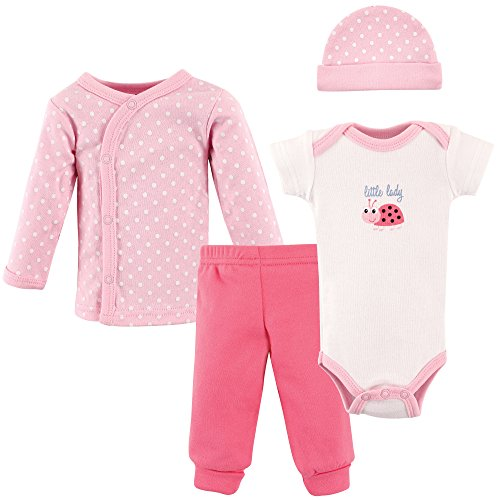 Luvable Friends Baby 4 Piece Pant, Bodysuit, Shirt, Cap Set, Little Lady, Preemie