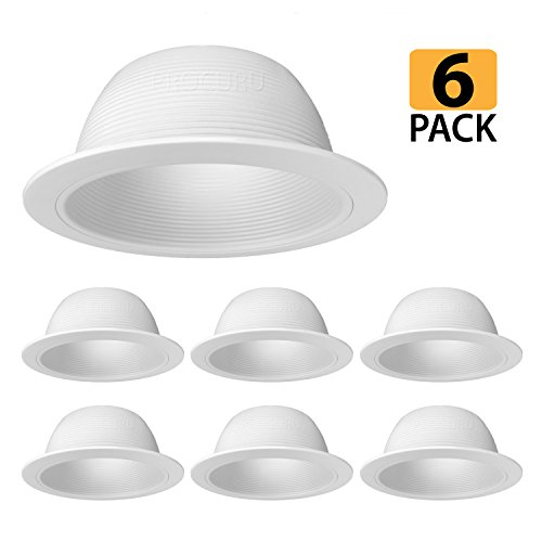 [6-Pack] PROCURU 6 White Baffle Metal Recessed Can Light Trim - for BR30/38/40, PAR30/38/40 LED, Incandescent, CFL, Halogen (White (6-Pack))