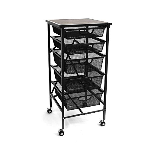 Origami Wheeled Folding Steel 5 Drawer Mesh Storage Kitchen Cart Wood Top, Black