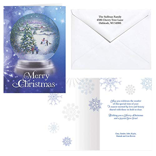 (Personalized Winter Snowglobe Christmas Card Set of 20)
