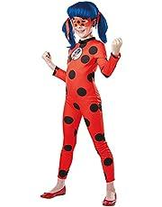 Rubie's Officieel Ladybug Miraculous kinderkostuum I-300778M, maat M 5-6 jaar, rood