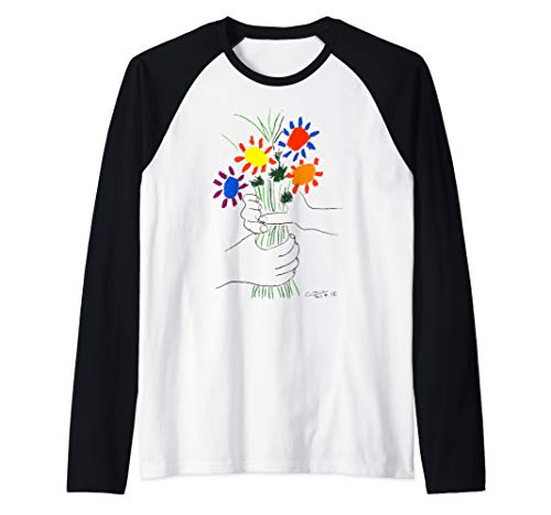 Pablo Picasso Flowers Bouquet With Hands (Of Peace) 1958 Raglan Baseball Tee