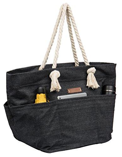 Malirona Large Canvas Beach Bag Shoulder Bags,6 pockets,44L, Weekend Holiday Perfect Bag by Malirona