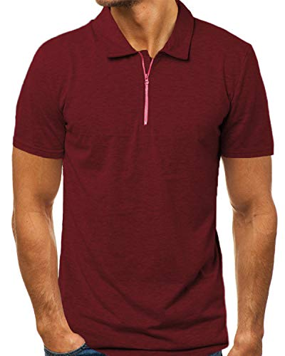 MODCHOK Men's Zip Polo Shirt Slim Fit Zipper Cotton Short Sleeve T Shirts Golf Red L